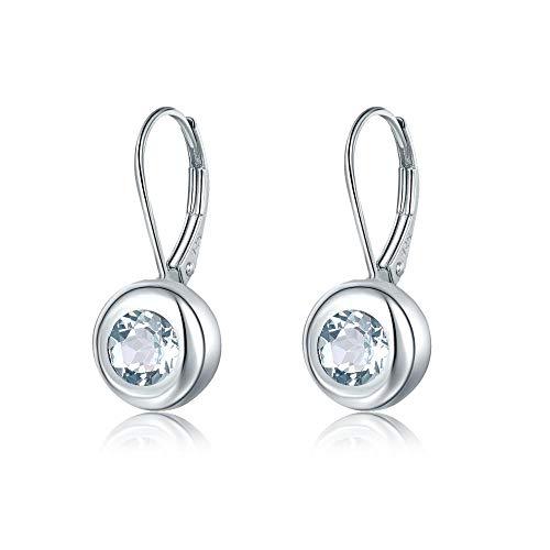 NOBRAND Pendientes de aro para mujer de aguamarina natural para mujer, pendientes de clip de plata maciza con piedras preciosas azules, elegante joyería de novia