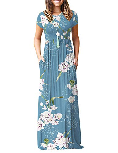 AUSELILY Women Short Sleeve Loose Print Floral Pleated Casual Long Maxi Dresses with Pockets
