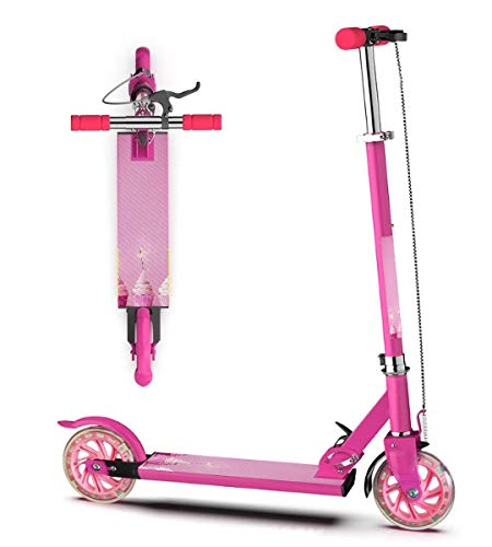 FUIENCFKE Kids Kick Scooter Pink Cupcakes with Sparklers Foldable Adjustable Height Lean to Steer Double Brake 2 Wheels with LED Flashing for Girls Boys 3 Years and Up