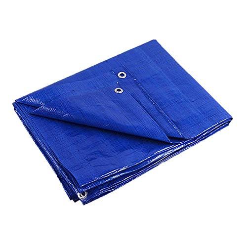 Waterdicht zeil 10 m × 12 m, dubbel blauw zeil met verdikte en versterkte oogjes geschikt voor tenten buitenshuis, boten, campers of zwembadafdekkingen 10 m × 12 m.