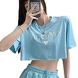 Cuello Redondo Camiseta De Corta Niña Manga Corta Camisetas Cropped Mujer con Azul Camisetas Crop Nina M