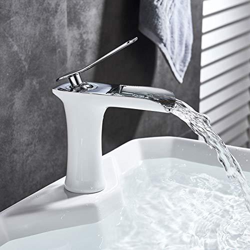 Onyzpily Grifo de lavabo de latón cromado blanco Grifo de lavabo de baño Estilo alto Caño de cascada Montaje en cubierta Un solo orificio