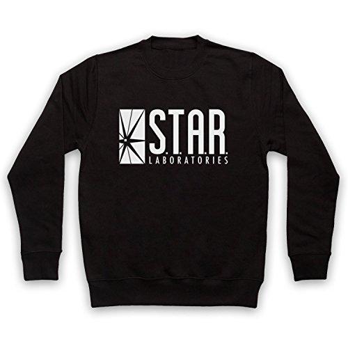 The Flash Star Laboratories Sweat-Shirt des Adultes, Noir, Small