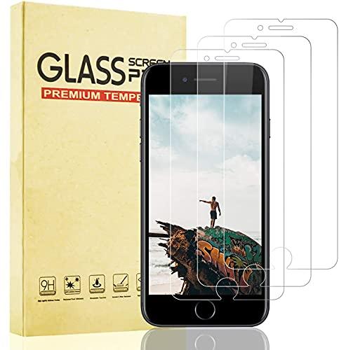 Lixuve 3 Unidades Protector de Pantalla para iPhone Se 2020 Cristal Templado, Vidrio Templado Película Protectora para iPhone 8/7/6S/6 [Sin Burbujas] [9H Dureza] [Instalación Fácil]