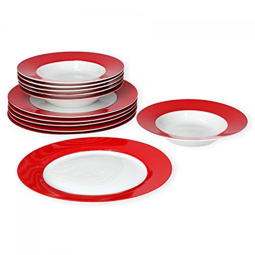 Van Well Tafelservice 12-TLG. für 6 Personen Serie Vario Porzellan - Farbe wählbar, Farbe:rot