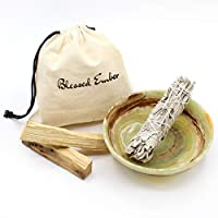 Blessed Ember Natural Stone Green Calcite Crystal Gemstone Smudge Bowl with Garden Sage and 2 Palo Santo Sticks