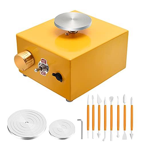 4YANG Mini rueda de cerámica Mini máquina de cerámica eléctrica de la placa giratoria de 6.5cm y 10cm 0-300r   min ≤ 60dB Herramienta de arcilla DIY para trabajo cerámico Cerámica Clay Art Craft