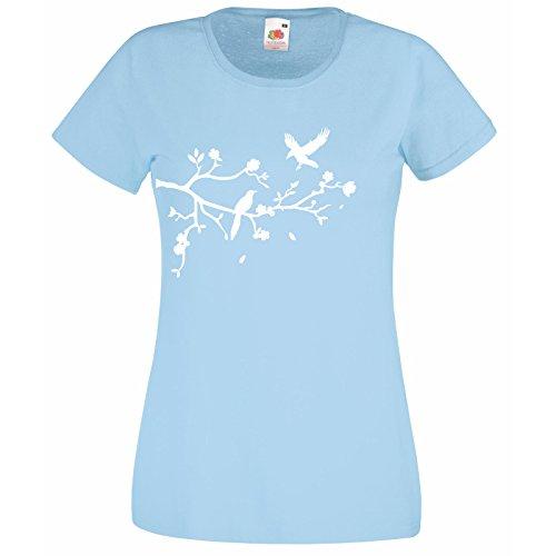 Camiseta para dama con Rama De Árbol Hojas amd Pájaros Diseño / Fruit Of The Loom Súper camiseta de calidad / Forest Animados Camisas / Natural Art Camisa + Pegatina Gratis Surtido Regalo - algodón, Azul, 100% algodón, Mujer, Extra Grande