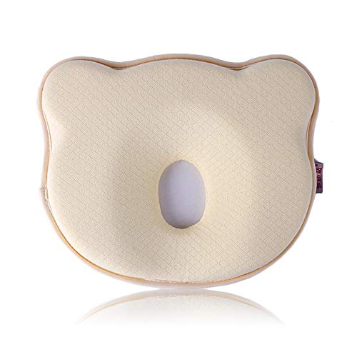 Besylo Almohada para Bebe, planas para la cabeza Forma bebé recién nacida almohada protectora para bebés, Cojín Recién nacido para Anti Plagiocefalia 0-12 Meses(amarillo)