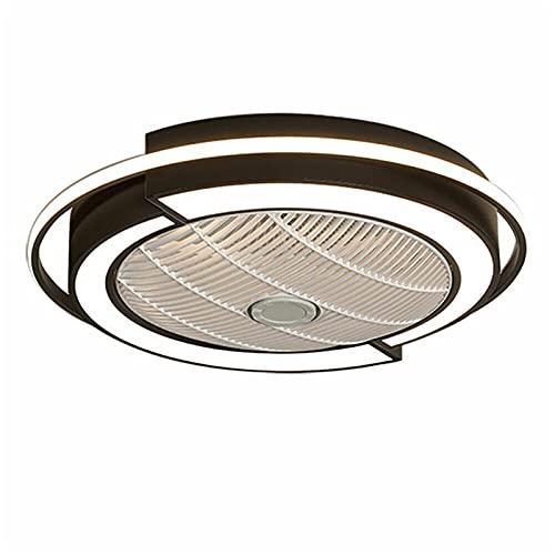 Futchoy Moderno ventilador de techo con iluminación, 23 pulgadas, luz LED con mando a distancia, regulable, lámpara de techo silenciosa, de metal acrílico, para salón, dormitorio, dormitorio