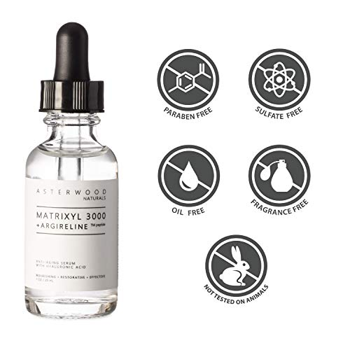 MATRIXYL 3000 + ARGIRELINE Peptide 1 oz Serum + Organic Hyaluronic Acid, Wrinkle Aging Fighting, Powerful Line Remover Collagen Booster ASTERWOOD NATURALS Liquid Face Lift in a Bottle