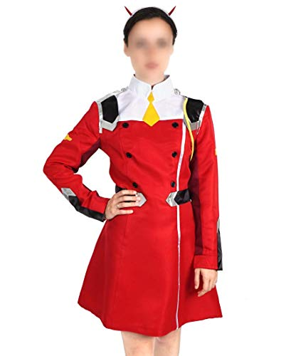 Darling in The FranXX Uniform Jacke der APE Special Force von Zero Two, Cosplay Kleid mit Haarreif, Größe: L