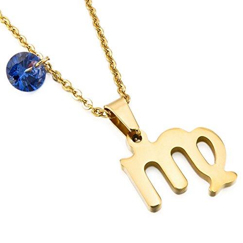 MunkiMix Acero Inoxidable Vidrio Glass Colgante Collar Constelación Horóscopo Zodíaco Oro Dorado Tono Hombre,Mujer,Cadena