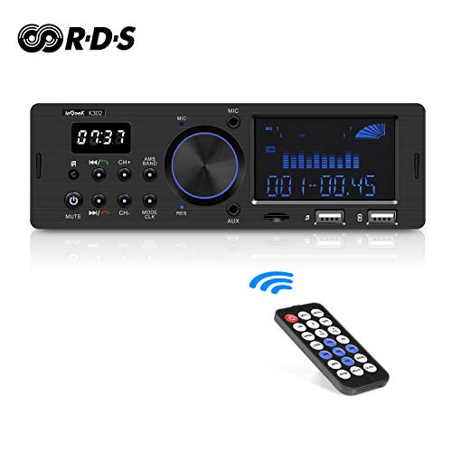 Autoradio Bluetooth RDS ieGeek, Stereo 60WX4 Supporta FM/AM/USB/AUX/MP3/WMA/WAV/FLAC/SD, Doppio...