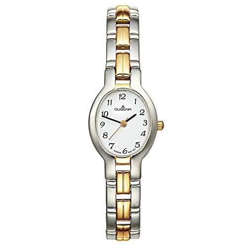 DUGENA Damen-Armbanduhr Schmuckband, Quarz, Edelstahlgehäuse, Mineralglas, Edelstahlarmband, Drückerfaltschließe, 3 bar (Bicolor)