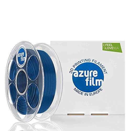 AZUREFILM 3D Filamento PLA per stampa 3D professionale 1,75 mm - Accessori di stampa 3D indispensabili - Precisione dimensionale elevata +/- 0,02 mm, Bobina 1 kg, Blu Transparente