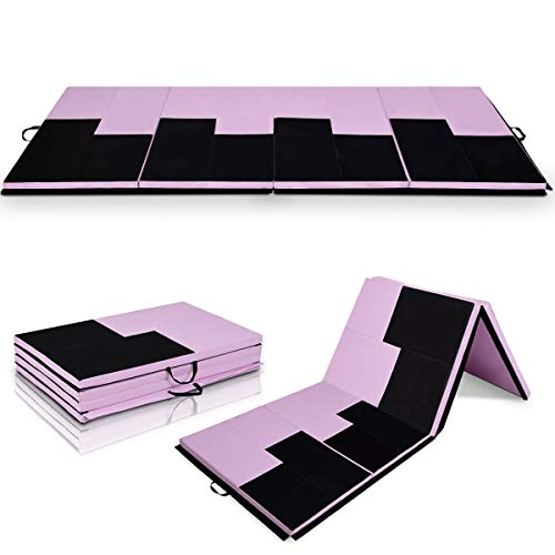 Giantex 4'x10'x2 Gymnastics Mat Folding Panel Thick Gym Fitness Exercise (Pink/Black-Piano Design)