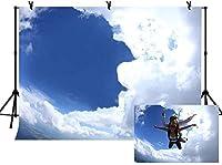 青い空と穴あき雲の新しい10x7ftスカイダイビングテーマの背景スカイダイビングファンのパーティーがフォトブースの背景を飾る0684