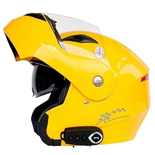 ZHEN Cascos Bluetooth para Motocicleta, Cascos de protección modulares Integrados con Visor Doble abatible hacia Arriba, Casco Bluetooth de Cara Completa para Locomotora Aprobado por ECE para con