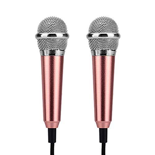 EXCEART Micrófono de Instrumento Mini Micrófono de 2 Piezas para Teléfono Móvil Portátil Micrófono Portátil sin Auriculares (Oro Rosa)