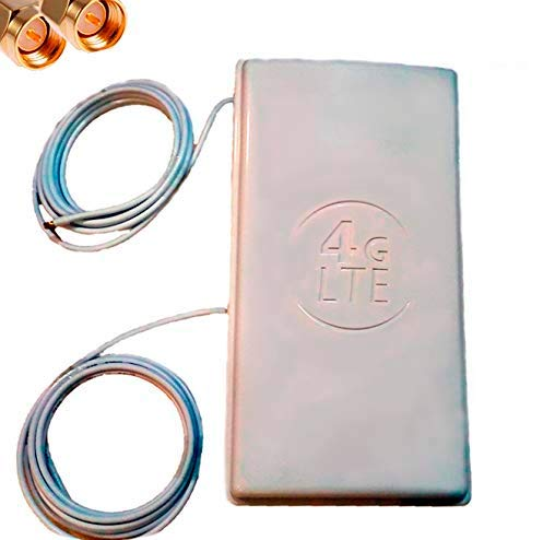 Antena Panel 4G Wonect Exterior Mimo 48dBi 3G WiFi largo alcance Incluye soporte para mástil de antena. Blanca. Antena potente compatible bandas 4G,LTE Conector SMA Macho Incluye cable (10 metros)