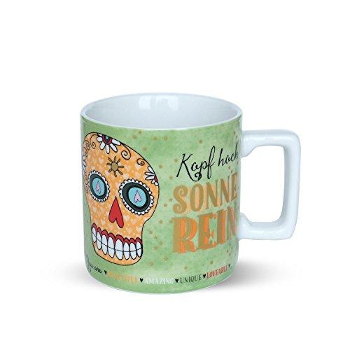 Sugar Skulls 45023 koffiemok met spreuk Om deze werkdag meer expressie te geven, roer ik mijn koffie met de middelvinger om porselein, 40 cl, doodskop motief, blauw