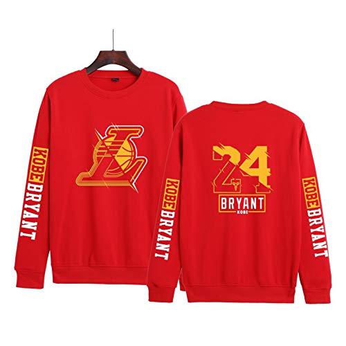 JZEL Bryant Ropa Conmemorativa Cuello Redondo Suéter Nueva Moda Casual Suelto Hombres y Mujeres Pullover Rojo-XXXL