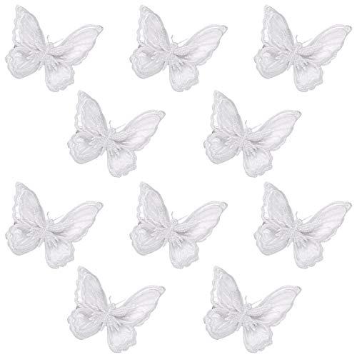Amosfun Weiße Schmetterling Haarspangen Spitze Schmetterling Haarschleifen Stifte Exquisite Haarspangen Haarschmuck für Damen Frauen Mädchen 10 STK