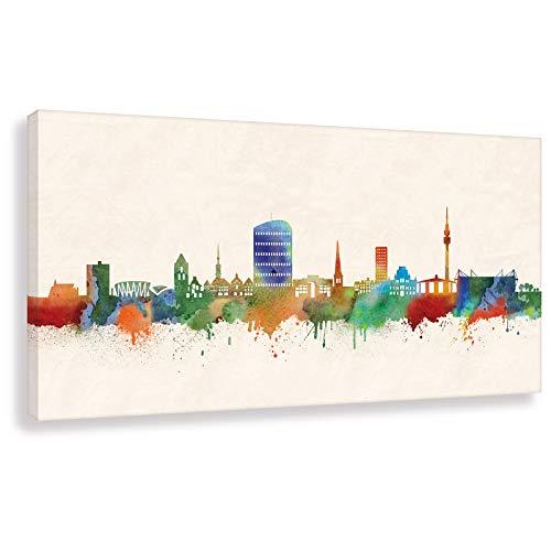 Kunstbruder Dortmunder Skyline - Farbe 20x50cm - by Stadt Dortmund Kunstdruck 2cm (div. Varianten/Größen)- Leinwandbild Wandbild/fertig aufgespannt/fertig zum aufhängen