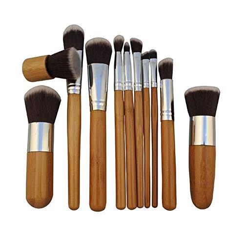 Brosse De Maquillage De 11 Sac De Laine Poignée Bambou Naturel Fibre Brosse Maquillage De Fard À Paupières Brosse Pinceau Blush Pinceau Fond De Teint