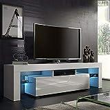 Cocoarm Mobile Porta TV Moderno in Legno Bianco con LED e Cassetto, 138x45x14 cm, 110V-240V