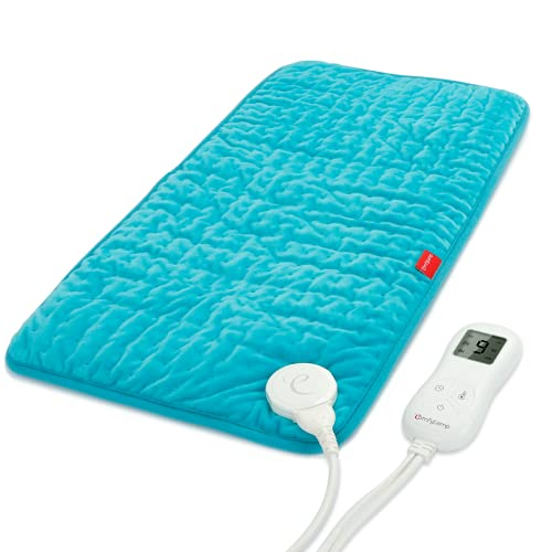 Upgraded Heating Pad, Comfytemp Electric Heated Pad   9 Heat Setting, Stay on, 5 Auto-Off Timers, Moist Heat   Super Soft Flannel Heat Pad for Cramps, Back, Neck and Shoulder, 12 x 24 Inch - Washable