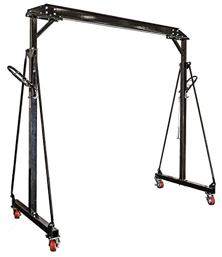 """JEGS Adjustable Height Gantry Crane   1-Ton Capacity   Adjusts From 7'11"""" to 11'9"""" In Height   Black Powder Coated Steel   Includes Four 5"""" Swivel Caster Wheels"""