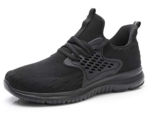 acelyn Women's Athletic Running Shoes - Slip On Sneakers Lightweight Breathable Mesh Walking Running Shoes for Tennis Gym Travel US 9 Black