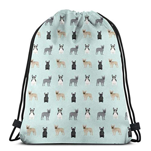 French Bulldogs Aqua 3D Print Drawstring Backpack Rucksack Shoulder Bags Sports Gym Bag For Adult 16.9'X14'inches