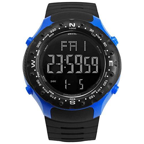 AYDQC Reloj for Hombre Aire Libre Digital, Deportes Impermeable de los Relojes, Luces LED de Goma Negro Grande de la Cara Relojes de Pulsera con Alarma Hombres fengong (Color : Black Blue)