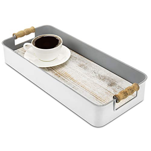MyGift 17-Inch Classic Gray Metal & Shabby Whitewashed Wood Base Coffee/Tea Serving Tray with Wooden Handles