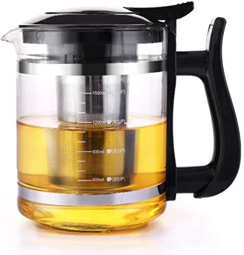 YONGYONGCHONG Tetera de hierro fundido resistente a altas temperaturas de vidrio transparente con filtro de infusor de acero inoxidable 304 y tapa para té suelto y café (1500 ml) accesorios de té