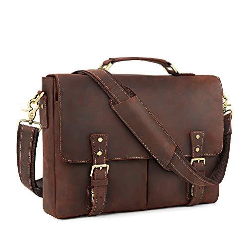 Kattee Vintage Leather Briefcase 15.6 Inch Laptop Messenger Bag Tote Coffee