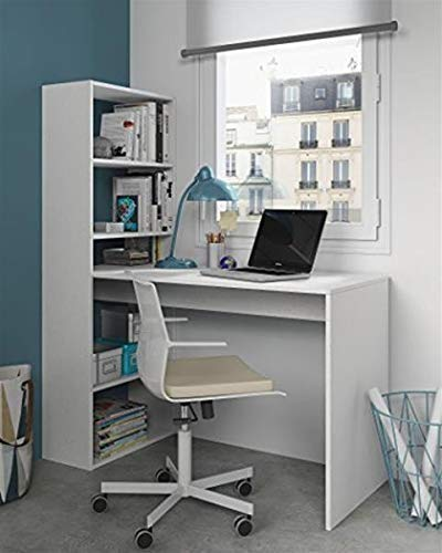 Habitdesign 008314A - Escritorio y estantería reversible, mesa de oficina o estudio acabada en color Blanco, 144 x 120 x 53 cm
