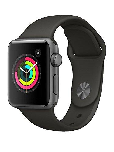 Apple Watch Series 3 38mm (GPS) - Space Grey Aluminium Case with Grey Sport Band (Renewed)