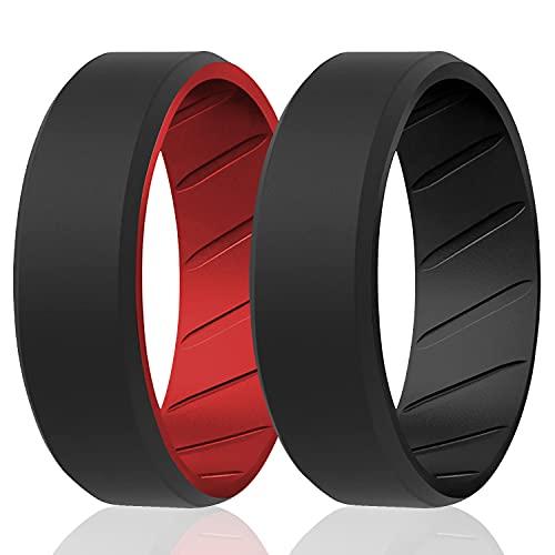 ROQ Anillos de silicona transpirable, anillo de boda de caucho de silicona para hombres con diseño de ajuste cómodo, 8 mm biselado dúo, 2 unidades – color negro y rojo – Talla 15