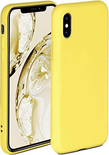ONEFLOW Soft Hülle kompatibel mit iPhone X/iPhone XS Hülle aus Silikon, erhöhte Kante für Displayschutz, zweilagig, weiche Handyhülle - matt Gelb