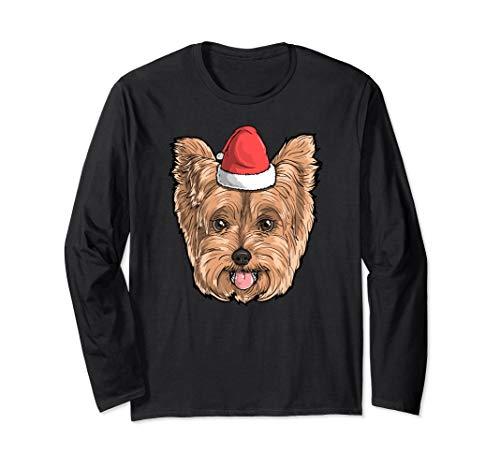 Yorkie Dog Santa Claus Hat Christmas X-Mas Holiday Hund Langarmshirt