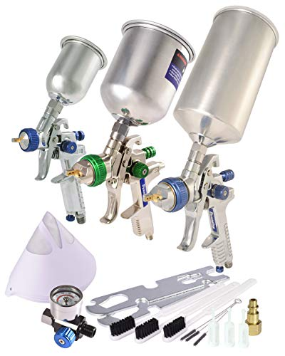 Dynastus 3 Paint Gun Set of High Performance HVLP Air Spray Guns, Complete Spraying for Primer, Finish Coats and Touch-Up