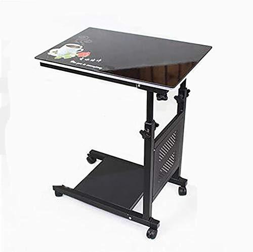 Beistelltisch Bedside Computer Schreibtisch mit abschließbarer Rolle Leicht zu bewegen Glas lackierte Oberfläche Höhenverstellbar 2-lagige Trennwand for Bedside Sofa Arbeitszimmer Esstisch Aufbewahrun