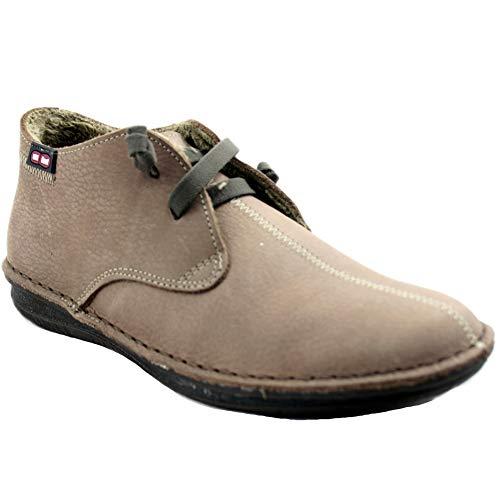 On Foot 20800 - Zapatos Bajos para Mujer de Piel Suave Forradas con Pelo Sintético Cordones de Gomas - 38, Beix