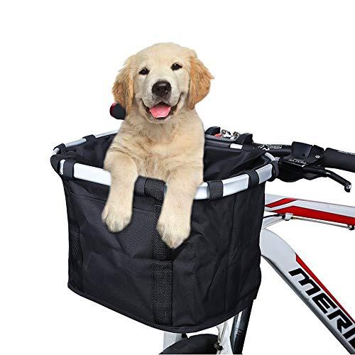 ACESPORT Cesta de bicicleta de viaje plegable Cesta de bicicleta de viaje para mascotas pequeñas, gato, perro, transporte frontal, compras de picnic (negro)