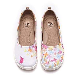 UIN Women's Ballet Flats Cute Casual Fancy Art Painted Comfort Soft Slip Round Toe Shoes Painted Butterflies (39)