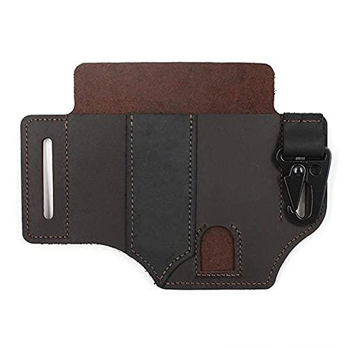 Tuimiyisou Multifunctional tool sheath for belt leather tool pocket manager sheath with pen holder keychain flashlight sheath leather bag dark brown